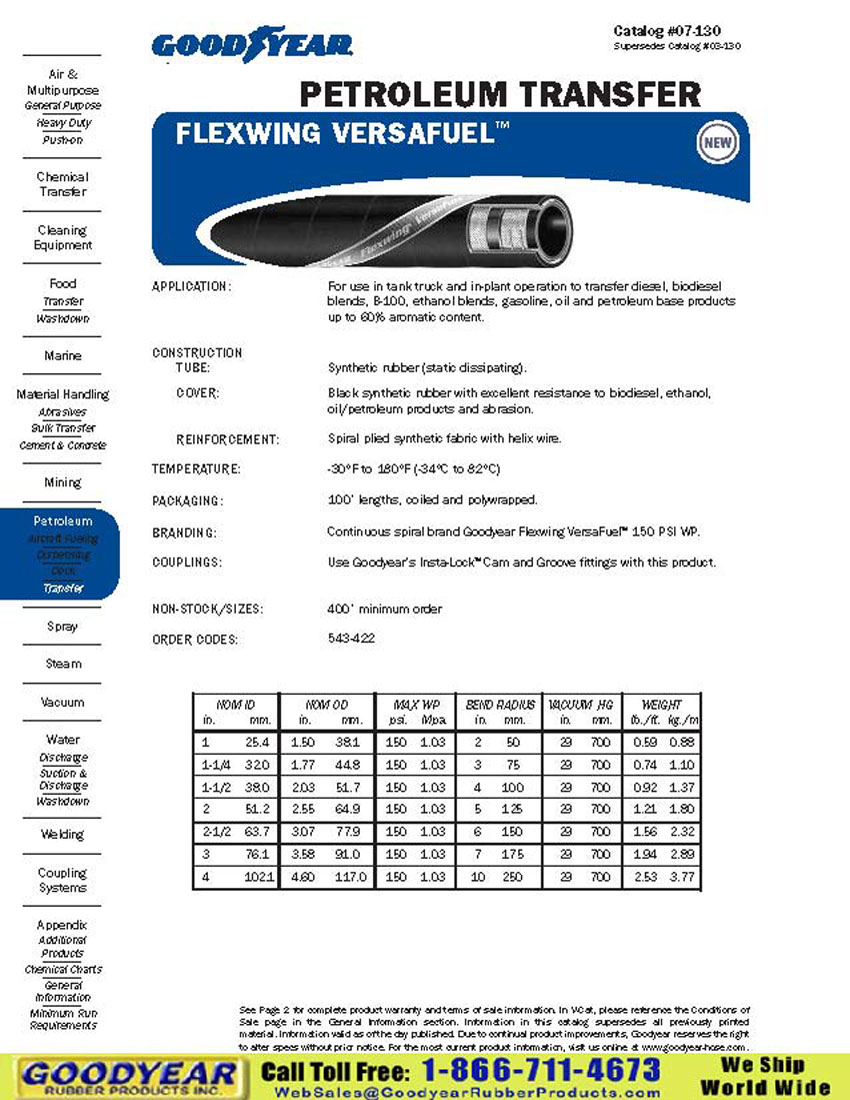 Goodyear Flexwing Versafuel 150 Psi Wp Petroleum Transfer Hose