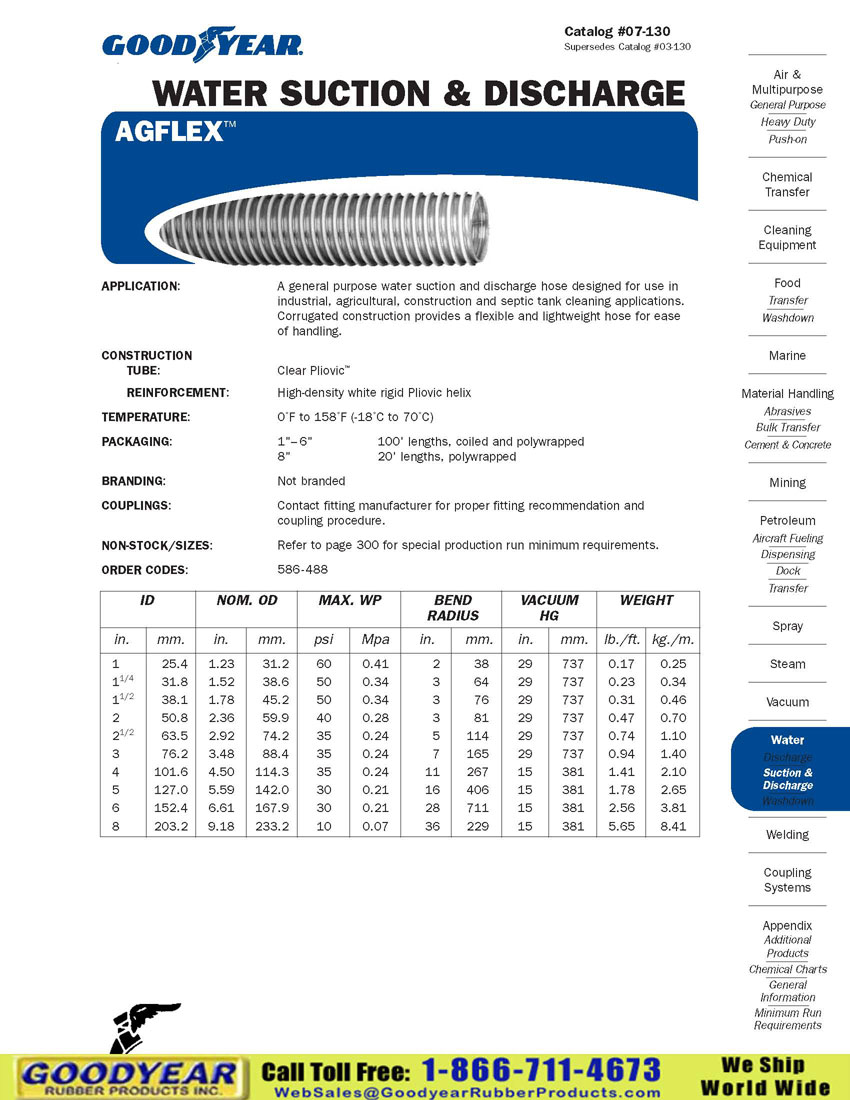 Goodyear Agflex Water Suction Amp Discharge Hose