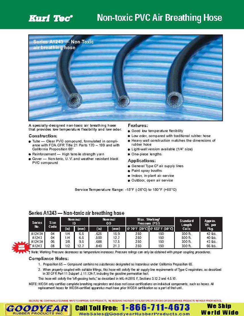 Kuri Tec A1243 Non Toxic Pvc Air Breathing Hose