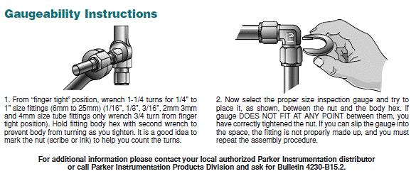 Parker instrumentation fittings